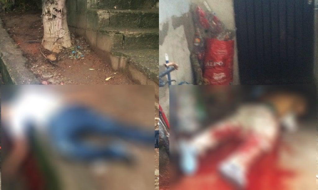 Los cadáveres de los presuntos pandilleros quedaron tendidos en plena calle.