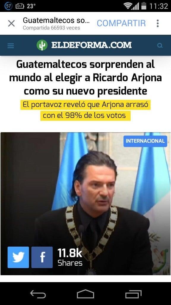 Ricardo Arjona, ¿Presidente de Guatemala (3)